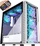 MUSETEX ATX Mid-Tower Computer Gaming Case with 6 PCS × 120mm LED ARGB Fans USB 3.0 Port Tempered Glass PC Chassis(G05MN6-BB)