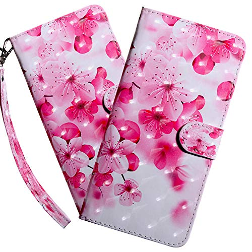 HMTECHUS Samsung A10E Case 3D Luxury Pink Peach Blossom PU Leather Wallet Flip with Card Holder Kickstand Book Style Magnetic Cover Compatible with Samsung Galaxy A10E,Pink Peach Blossom BX