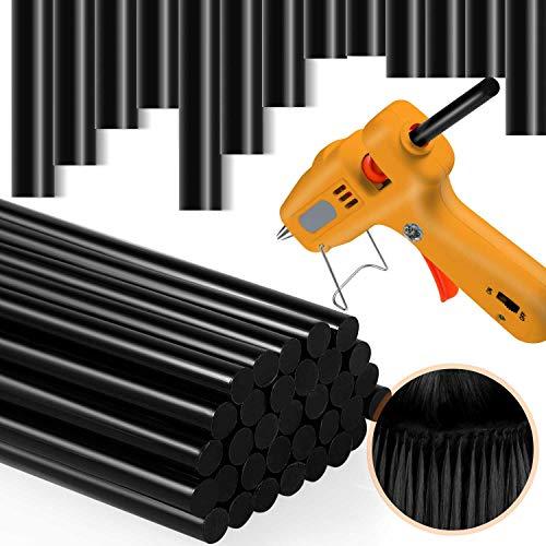36 Pieces Hair Extension Keratin Glue Sticks Dent Puller Glue Sticks Hair Adhesive Sticks for Extension Glue Gun (Black)