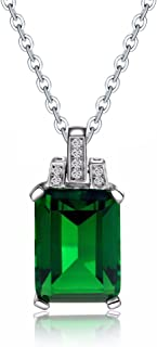Colorful Life Sterling Silver Necklace with Princess Cut Pendant in Simulated Gemstones