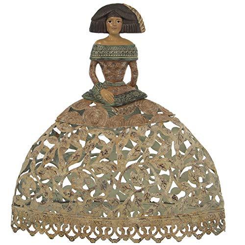 DRW Figura de una Menina de Hierro Calado 26,5x11x28,5cm (Amarillo)