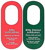 100 carteles para puerta con mensaje en alemán 'Bitte nicht stören', color rojo y verde