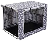 Geyecete Large Dog Crate Covers Fits 24inch-48inch Dog Crates for Small Medium Large Dogs Dog Crate Bed Dog Crate with Cover - Cover only(Crate Not Included)-Gray Paw-42