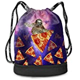 Ovilsm Cord Bag Sackpack Sloth Galaxy Travel On Pizza Drawstring Bag Rucksack Shoulder Bags Travel Sport Gym Bag Print - Yoga Runner Daypack Shoe Bags with Zipper and Pockets
