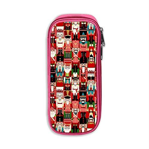 Kersttijd Notenkraker Unisex Oxford Doek Potlood Case Office School Bureau Potlood Buidelzak met Rits Eén maat roze