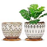 Whchiy Juego de 2 maceteros geométricos de cerámica, 14 x 11 cm, maceteros grandes...