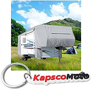 Waterproof Superior 5th Wheel Toy Hauler RV Motorhome Cover Fits Length 33'-37' New Fifth Wheel Travel Trailer Camper Zippered Panels Heavy Duty 4 Layer Fabric + KapscoMoto Keychain