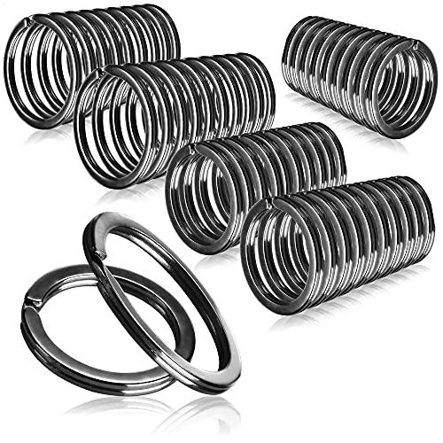 com-four® 50x Schlüsselringe vernickelt aus gehärtetem Stahl, Sortiment Metallringe-Anhänger, rund in schwarz, Ø 25+30 mm (050 Stück - schwarz 25+30mm)