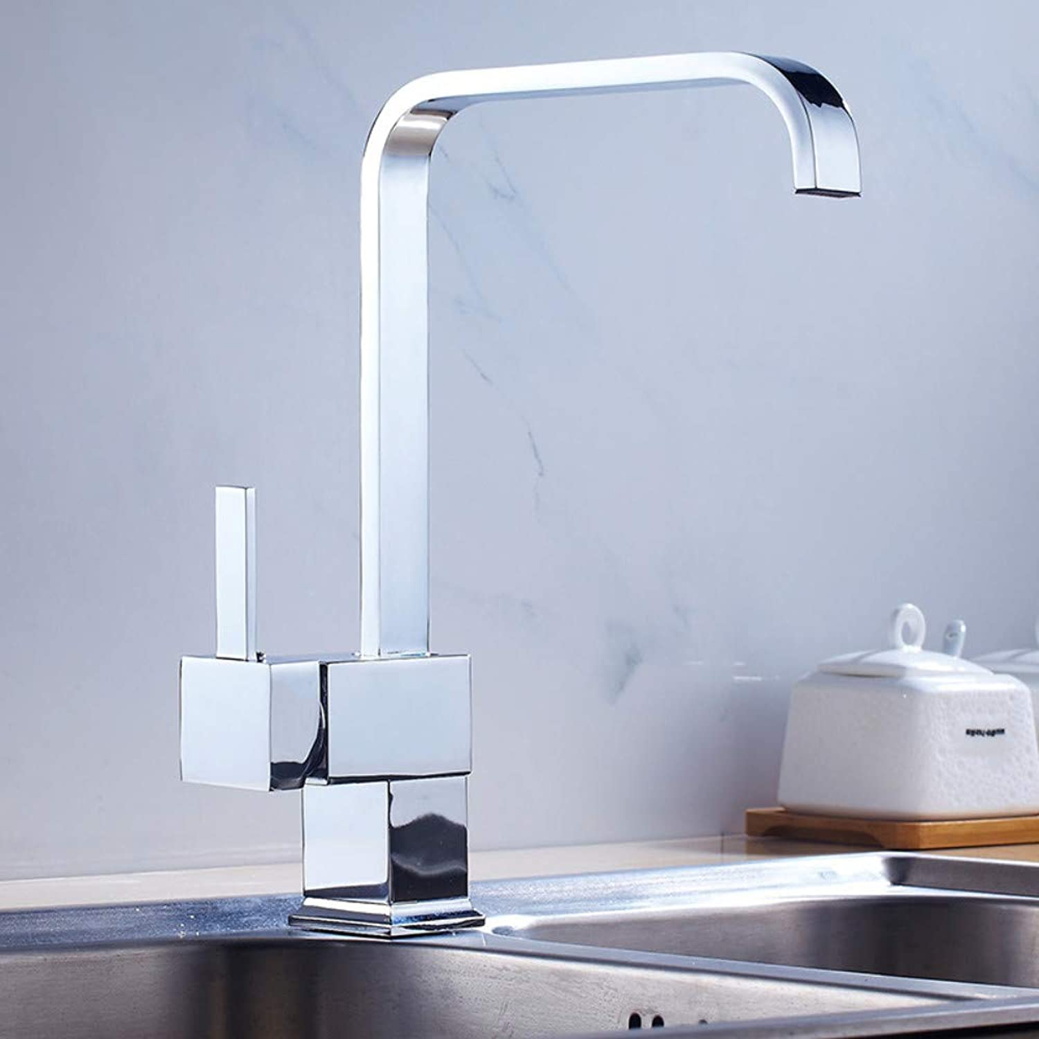 Kitchen Sink Faucet Kitchen Copper Faucet Square redating Faucet Hot and Cold Water Mixing Faucet