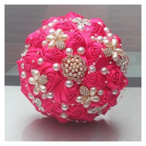RuiXi Magnífico broche de cristal de marfil para boda, decoración de boda, flores artificiales, ramos de novia, color amarillo claro, tamaño: 30 cm de diámetro)