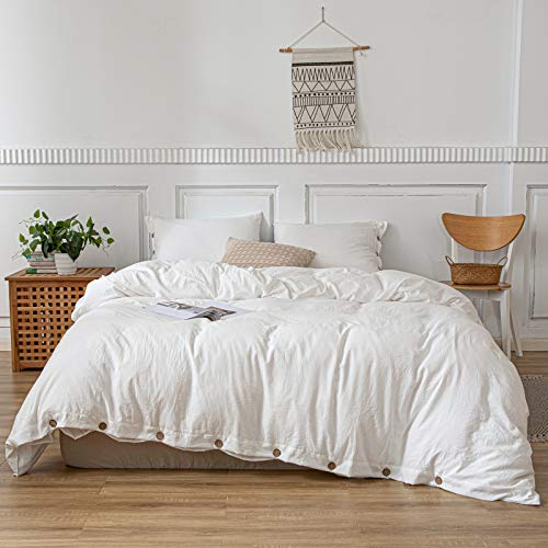 White Bedding All White Duvet Cover Set with Coconut Button Design Soft Washed Microfiber Bedding Sets Twin 1 Duvet Cover 1 Button Pillowcase (Twin, White)