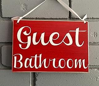 Prim and Proper Decor Guest Bathroom 8x6 (Choose Color) Bathroom Restroom Outhouse Washroom Rustic Custom Office Hotel Spa Welcome Door Plaque Hanger