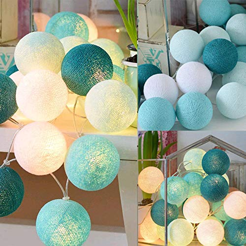 3M 20 LEDs Cotton Ball Light Ball Cotton Garland Balls Led Light String Lights Outdoor Garland for Decoration-Tiffany_3M Dry Battery