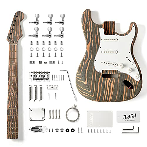 Bad Cat Instruments 6 Strings Zebrawood Solid Body ST-CASTER Style Electric Guitar Builder Kit