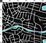 Landkarten, Landkarte, Stadt, Schwarz Und Weiß Stoffe -