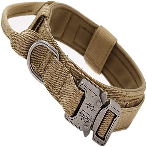 AXINOUDA Collare Tattico per Cani Regolabile con Maniglia di Comando, Collare Militare in Nylon con Fibbia in Metallo per Cani di Taglia Media e Grande (Marrone, L:45-55cm)