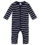 WELLYOU, Schlafanzug, Pyjama für Jungen und Mädchen, Einteiler Langarm, Baby Kinder, Marine-blau weiß gestreift, Geringelt, Feinripp 100% Baumwolle, Größe 80-86