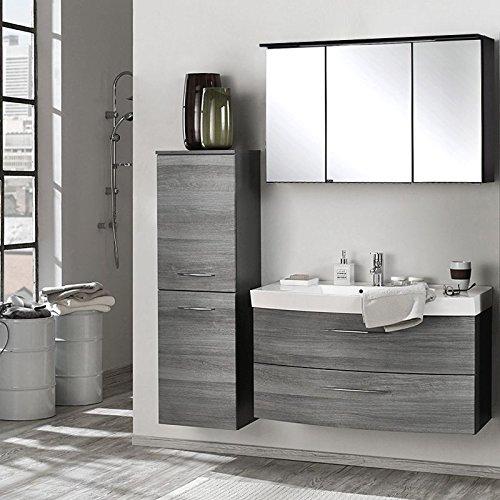 Badmöbel Set Eiche Rauchsilber graphitgrau (3 teilig) Waschtisch Badezimmer Badezimmermöbel LED Spiegelschrank