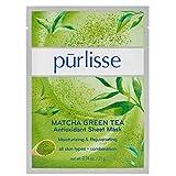 pūrlisse Matcha Green Tea Antioxidant Korean Sheet Mask - Natural Anti Aging Face Sheet Mask w/Collagen, Ellastin, Green Tea, White Tea & Vitamin E, Improves Skin Texture and Radiance, Single