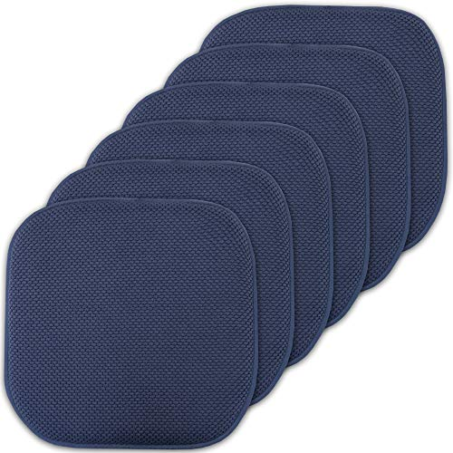 Sweet Home Collection Cushion Memory Foam Chair Pads Honeycomb Nonslip Back Seat Cover 16' x 16' 6 Pack Navy Blue