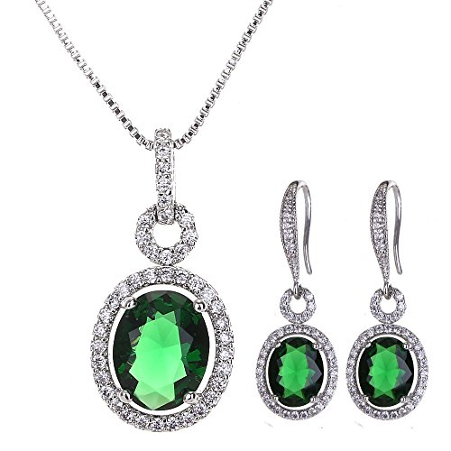 AMYJANE Green CZ Jewelry Set Silver - Women's Elegant Sterling Silver 14k White Gold Plated Emerald Crystal Cubic Zirconia Earrings Necklace Set May Birthstone Jewelry Set Birthday Gift