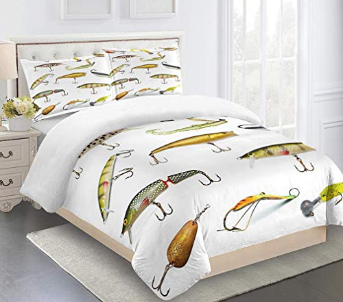 JZZCIDGa Cartoon Fish Duvet Cover Set 3 Pieces Bedding Quilt Cover Bedding Ultra Soft Double