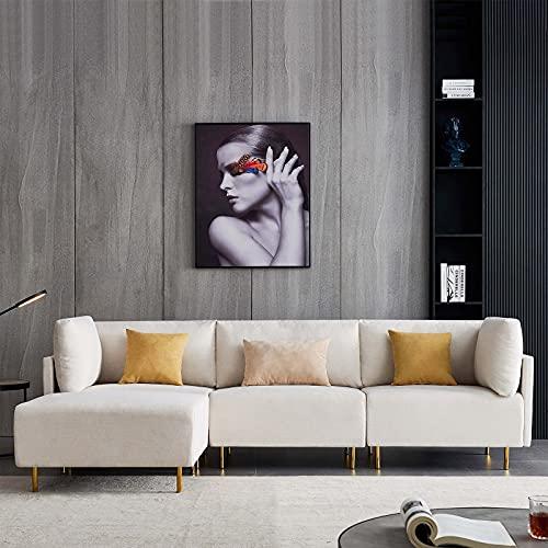 HOMODA Ecksofa L-Form 3 Sitzer Modern Couch mit Holzgestell und Metallfüße, Polstersofa mit Ottomane und Kissen, 276 x 152 x 84 cm