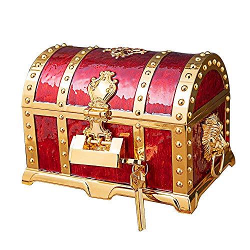 No-branded HMSCC Caja del Tesoro del Pirata 2 Capa Europea Caja Retro joyería Caja de Almacenamiento de Gama Alta del Regalo de Boda 20.5X13X12.8CM (Color : Oro)
