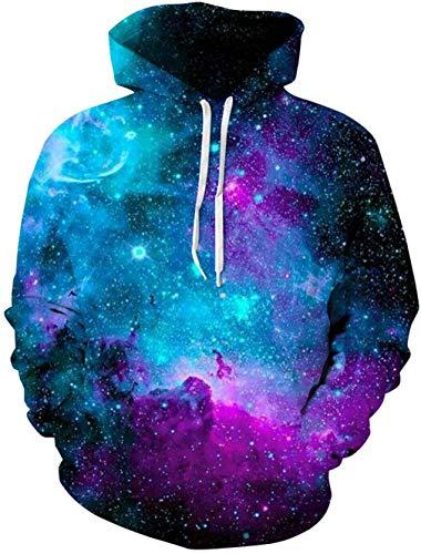 Loveternal Galaxis Hoodie 3D Druck Kapuzenpullover Galaxy Pullover Long Sleeve Sweatshirt für Männer Frauen L