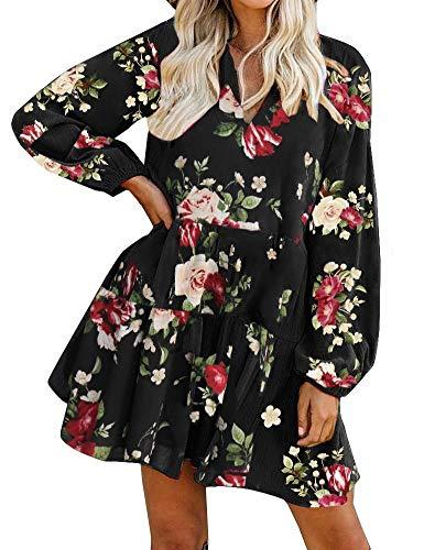 FANCYINN Womens Shift Tunic Floral Prints Dress Long Sleeve V Neck Ruffle Swing Chiffon Black Dress Cover Up & Pockets M