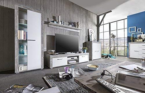 WILMES Aosta Wohnwand, Holzwerkstoff, Beton dekor Front weiß, 300 x 45 x 159 cm