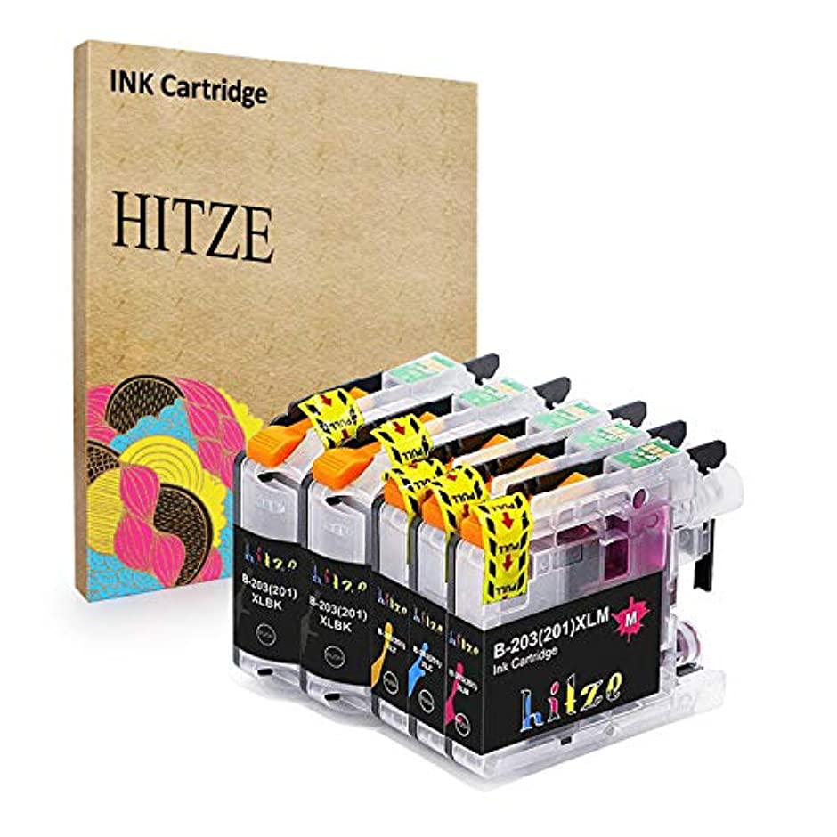Hitze Compatible Ink Cartridge Replacement for Brother LC201 LC203 XL MFC J480DW J885DW J485DW J880DW J680DW (2 Black, 1 Cyan, 1 Magenta, 1 Yellow, 5-Pack, High Yield)