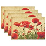 WOZO Vintage Poppy Placemat Table Mat, Shabby Chic Floral 12' x 18' Polyester Table Place Mat for Kitchen Dining Room Set of 4