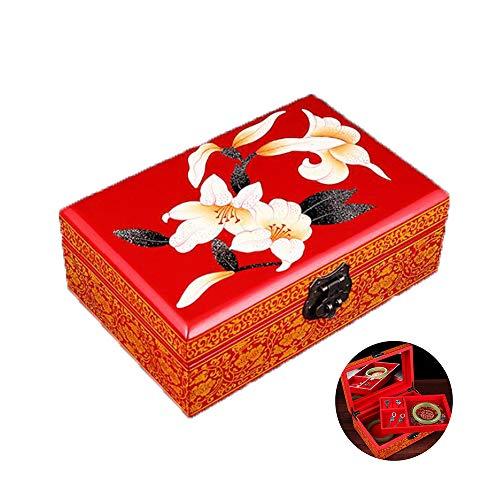 HAIHF sieradendoos, oosters houten sieradendoosje/kast/opslag met zwart lak, met de hand beschilderde bewaardoos, Chinese beschilderde vintage sieradendoos