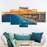 QWASD Playa De Cancún Al Atardecer Cuadro En Lienzo 5 Piezas Imagen Impresión,Pintura Decoración 5 Piezas Cuadro Moderno XXL,150X80Cm,Murales Pared Oficina Decor