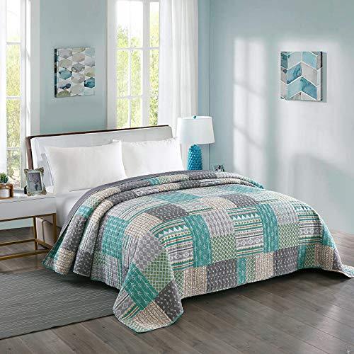 Laneetal 0180023, Tagesdecke Steppdecke Bettüberwurf Wendedesign Patchwork Bettdecke Stepp Decke Doppelbett unterfüttert & gesteppt, 220x240 cm