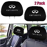 2 Pcs Infiniti Logo Car Truck SUV Van Auto Seat Fabric Headrest Covers Set for Infiniti (Gray Black).