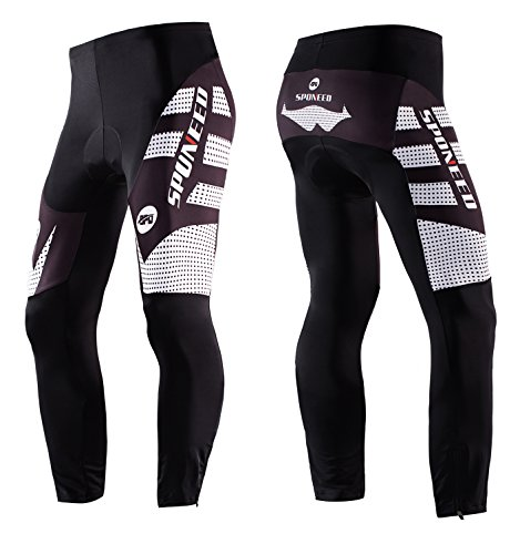 sponeed Men's Bike Pants with Padding Cycling Leggings Padded Sportwear Indoor Outdoor Biking Tights Asian XXL/US XL White