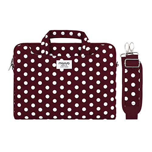 MOSISO Laptop Shoulder Bag Compatible with MacBook Pro 16 inch A2141/Pro Retina A1398, 15-15.6 inch Notebook, Dots Carrying Briefcase Sleeve with Trolley Belt, Red