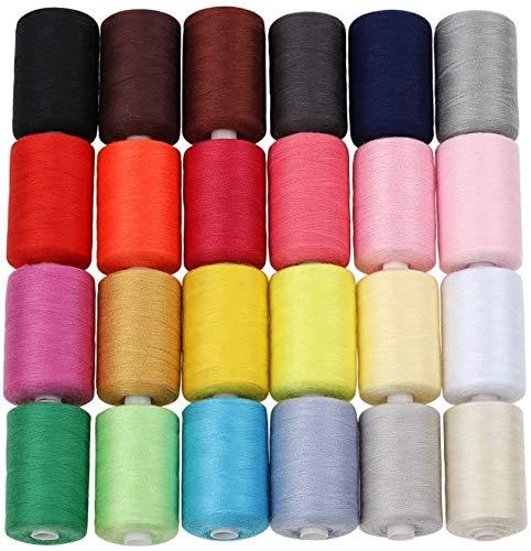 HAITRAL Nähgarn 24 Farben 1000 Yards / 914m,hochwertige Fäden,Polyester,Stickerei,ideal für Nähmaschinen oder Handarbeiten, ideal für Handnadelarbeiten und Kunst