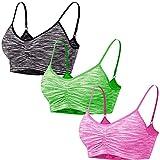 Libella Pack de 3 Sujetadores Deportivos Brasieres para Dama Confortables sin Tiras Apto para Dormir para Deportes Costura 3749 Gris+Rosa+Verde 2XL