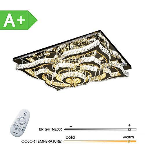 ZDHG Led-plafondlamp, kristal, 160 W, dimbaar, rechthoekige plafondlamp, creatieve spaarlamp voor woonkamer, slaapkamer, eetkamer, energieklasse A