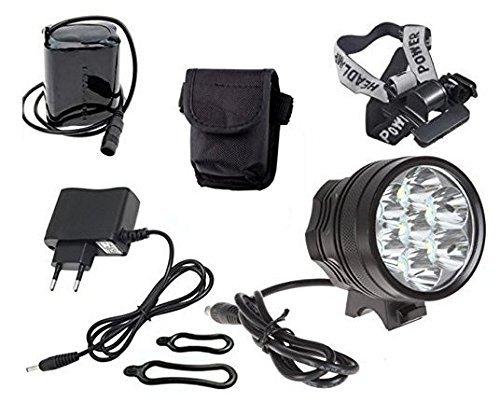 Theoutlettablet Luce anteriore per bici 12000 lumen Torcia anteriore LAMP 9x CREE XM-L U2 Bicicletta / bicicletta Luce LED Luce frontale LED per manubrio bicicletta (9 luci, 12000 Lumens) con batteria e caricabatteria COLORE NERO