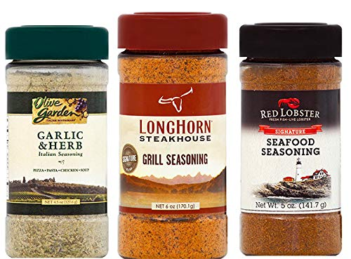 Bundle of 3 Spice Mixes: Longhorn Steakhouse Grill Seasoning, Red Lobster Signature Seafood Seasoning, Olive Garden Garlic & Herb Italian Seasoning