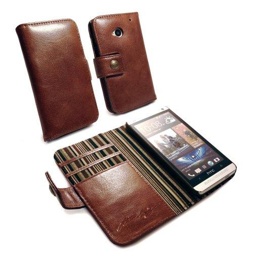 Alston Craig Custodia/Portafoglio in Vintage Pelle Genuino, Incluso protettore di Schermo (striscie Verde) HTC One M7 - Marrone