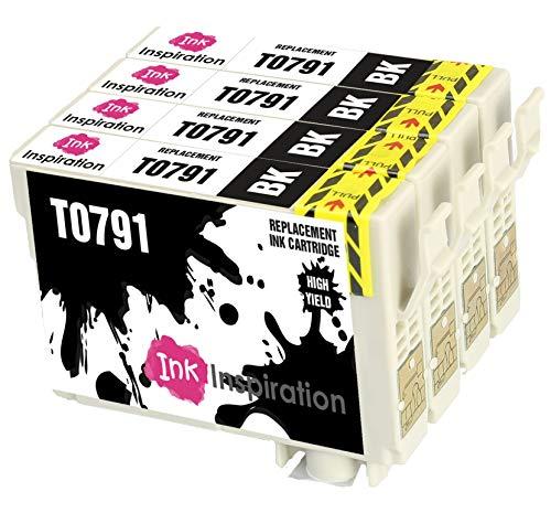 INK INSPIRATION® Ersatz für Epson T0791 Schwarz Druckerpatronen 4er-Pack, kompatibel mit Epson Stylus Photo 1500W 1400 P50 PX720WD PX700W PX800FW PX810FW PX820FWD PX830FWD PX650 PX660 PX710W PX730WD