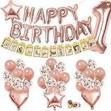 SPECOOL Decoración de Cumpleaños de 1er de Oro Rosa,con Pancarta de Fotos para bebés de 1 a 12 Meses, Pancarta de Feliz cumpleaños, Globos de látex y Confeti ,para Suministros para Fiestas