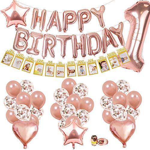 SPECOOL 1er Anniversaire Décorations Fille, avec Banderole Photo Enfant 1-12 Mois Photo, Or Rose Happy Birthday Balloons,Ballons Confettis&Latex Fournitures de Anniversaire 1an Fille Décoration