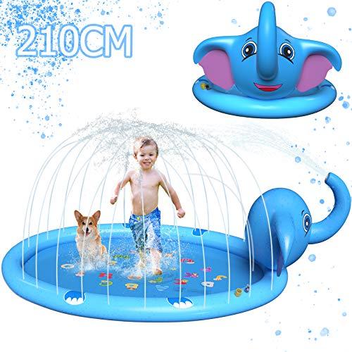 JUOIFIP Splash Pad 210CM Large Elephant Sprinkler for Kids & Inflatable...