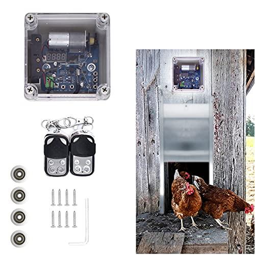 RYUNQ Automatischer Hühnerstall-Türöffner, Automatische Hühnertür Hühnerklappe mit Timer und...